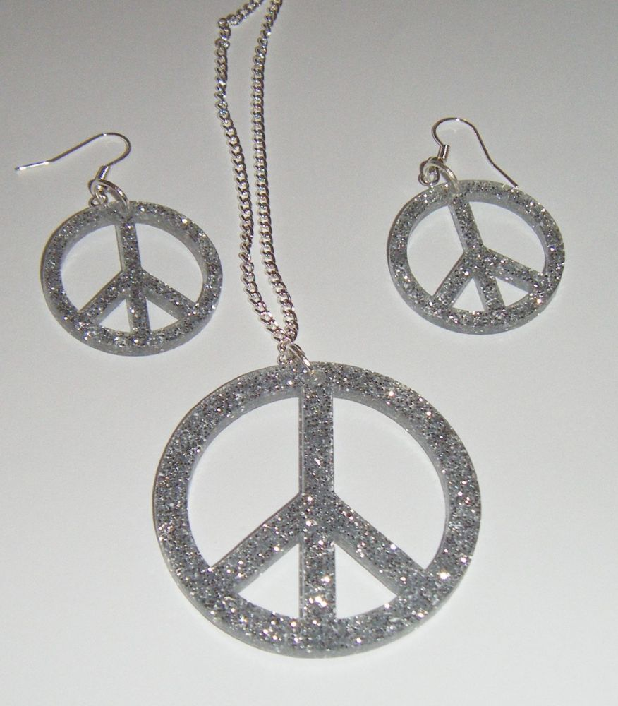 Peace Sign Earring and Pendant set Necklace