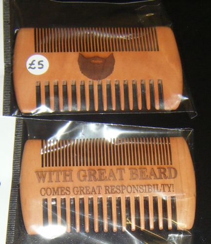 Wooden Beard Comb with Engraving