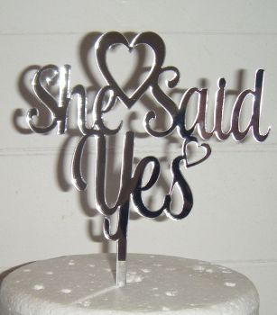 She said Yes with Heart Cake Topper 2