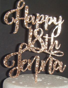 Happy (any Number) Name  Cake Topper 4 rist
