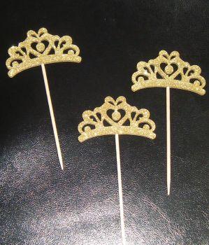 Glitter or Plain Card Crown / Tiara Cupcake Picks