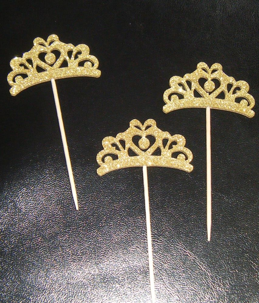 Glitter or Plain Card Crown / Tiara Cupcake Picks