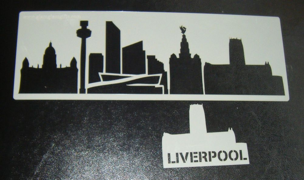 Liverpool Skyline Cake stencil