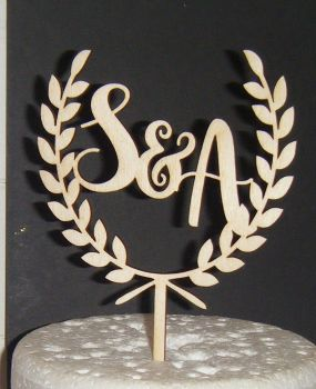 Letters with Laurel Leaf Crest  Initials Topper