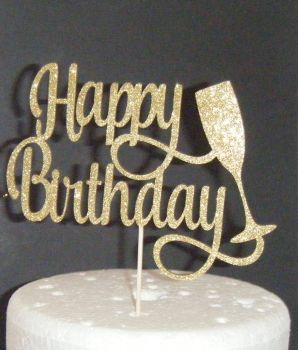 Happy Birthday Cake Topper with Champagne Glass