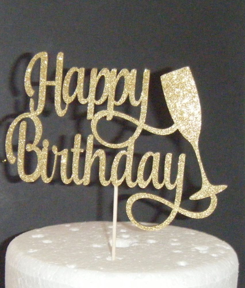 Happy Birthday Glass Cake Topper