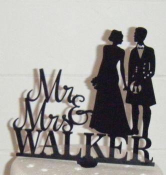 Mr + Mrs Wedding couple silhouette  custom Cake Topper  Man in Kilt