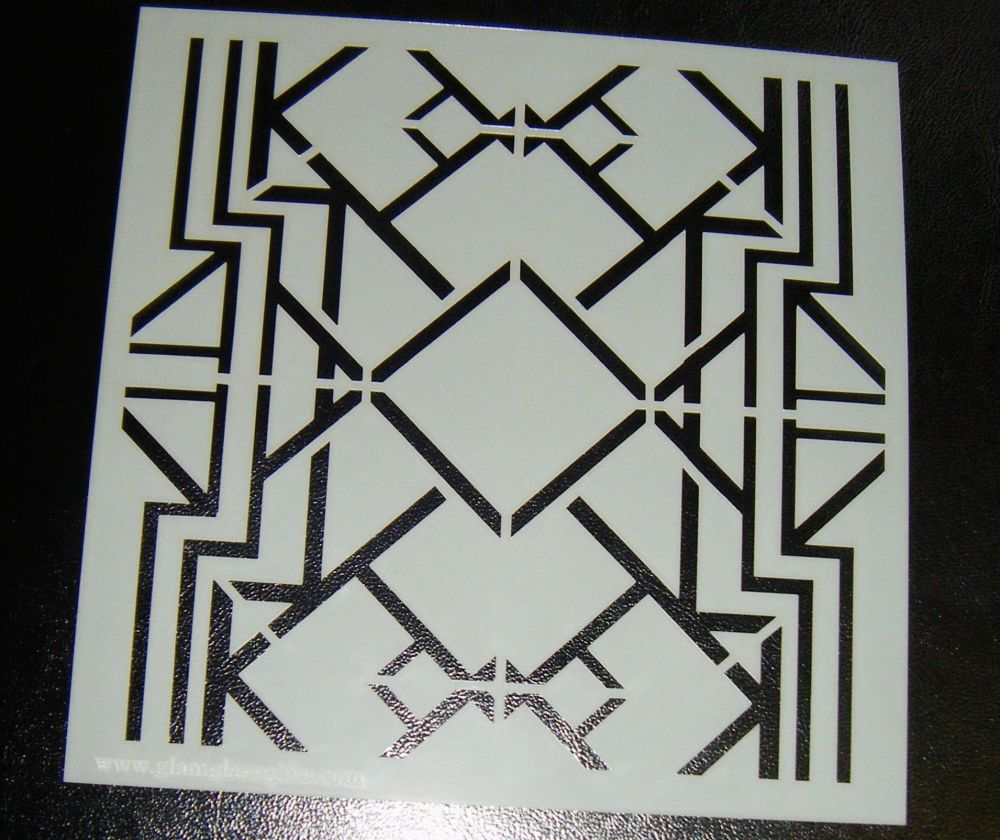 Art Deco squares 6 inch Pattern Cake decorating stencil Airbrush Design 3 r