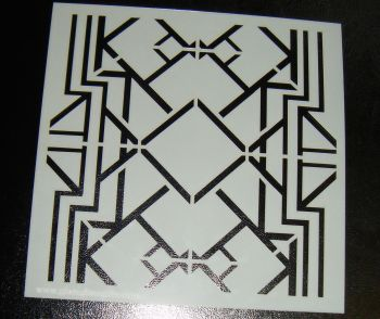 Art Deco Squares 6 inch Pattern Cake Decorating Stencil Airbrush Design 3 Reverse