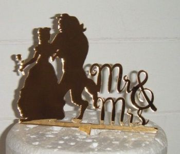 Beauty and the Beast Mr + Mrs Cake Topper