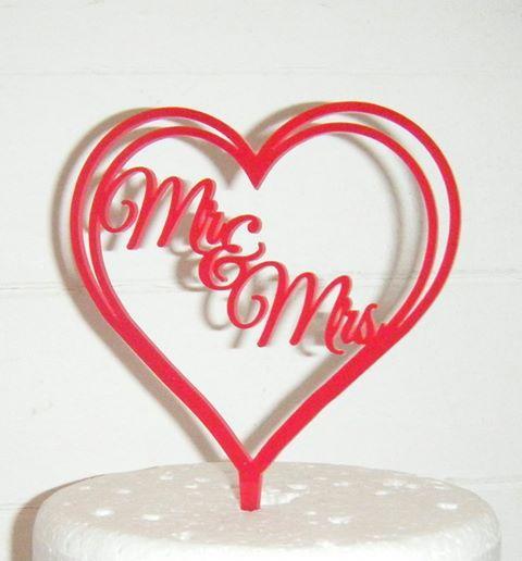 Mr + Mrs Heart Wedding Cake Topper  2  (or same sex)