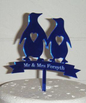 Mr + Mrs Penguin Wedding couple silhouette Custom Cake Topper
