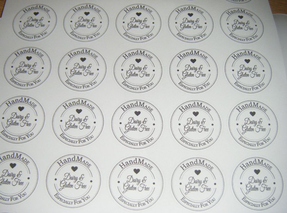 Dairy and Gluten Free A4 Sheet of Round HandMade
