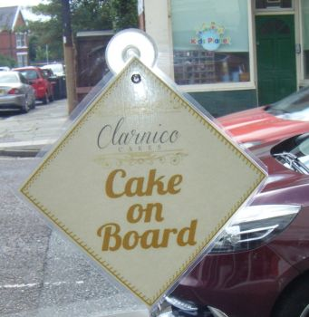 Custom Order Cake On Board Car Card Sign
