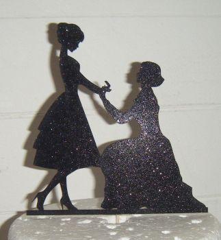 Lesbian Proposal Silhouette Cake Topper