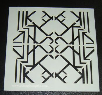 Art Deco Squares Pattern 5 inch Cake Decorating Stencil Airbrush Design 2 Reverse