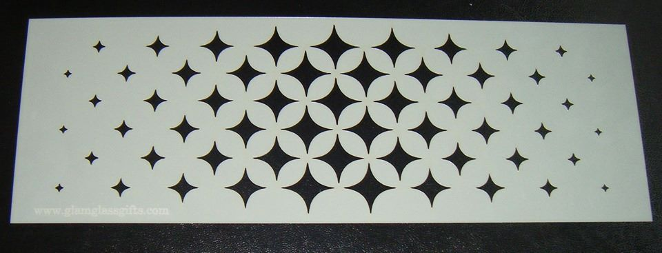 Star Burst Diamond Design Cake decorating stencil Airbrush Mylar Polyester