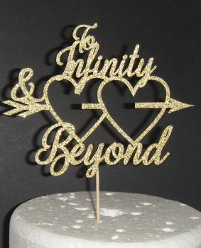 To Infinity and Beyond Hearts Cake Topper
