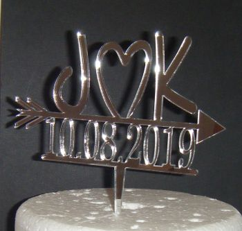 Arrow with Heart  and Date Initials Letters Topper