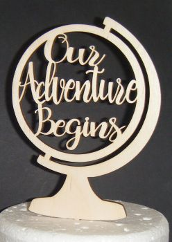 Our Adventure Begins  - Globe - Cake Topper