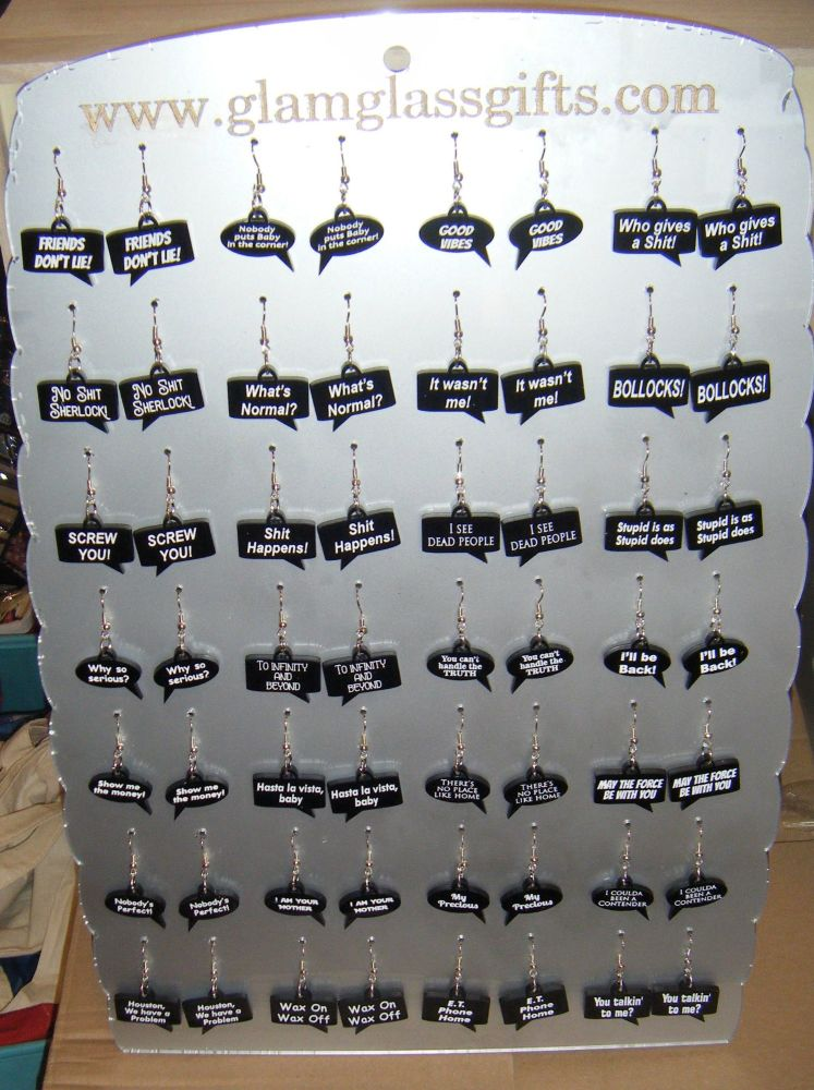 Speech Bubble Engraved Custom Made Fun Earrings - Movie Or Quote