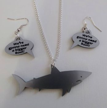 Jaws Shark Pendant Necklace with Speech Bubble Earrings