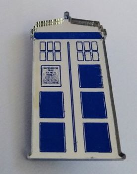 Fun Silver Mirror and Blue Police Box Brooch