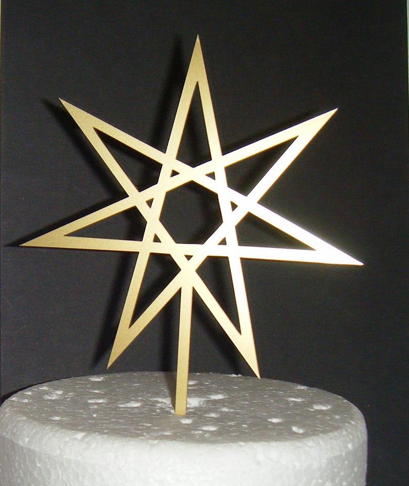 Geometric Star Silhouette Cake Topper