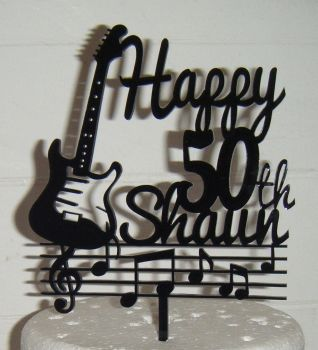 Guitar Music Notes Cake Happy Name Number Topper Custom made
