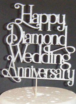 Happy Diamond Wedding Anniversary Cake Topper