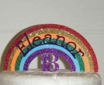 Rainbow Glitter Acrylic Cake Topper