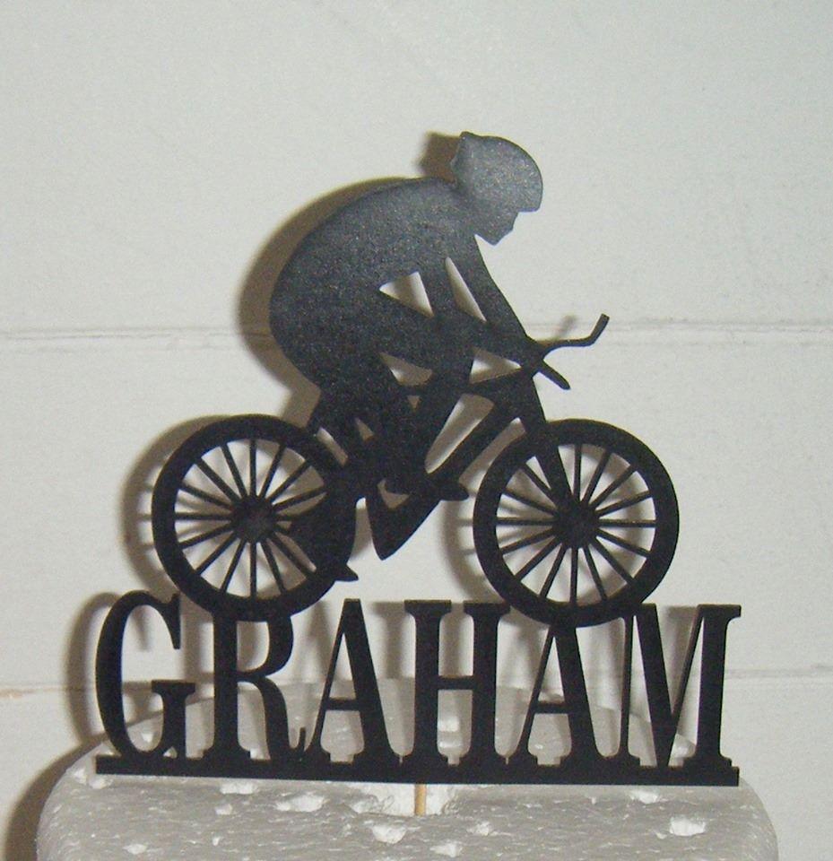 Cyclist Name Silhouette Topper Custom Made