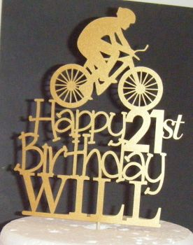 Cyclist Name Age Happy Birthday Silhouette Topper Custom Made