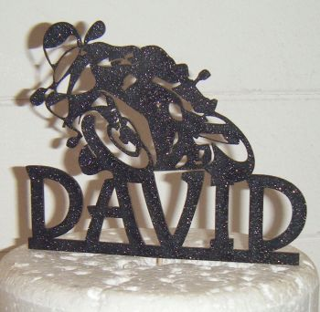 Biker Name Silhouette Topper Custom Made
