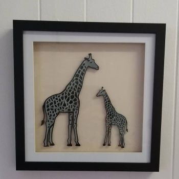 Black Adult And Baby Giraffe - Framed Acrylic Picture