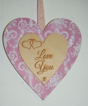 Double Heart Love You Wooden Plaque