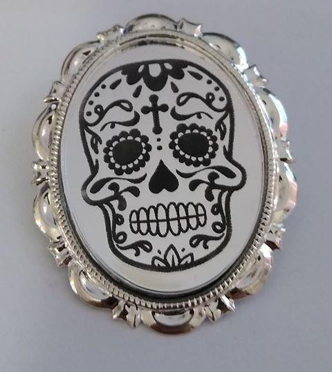 Silver Mirror Sugar Skulls Brooch