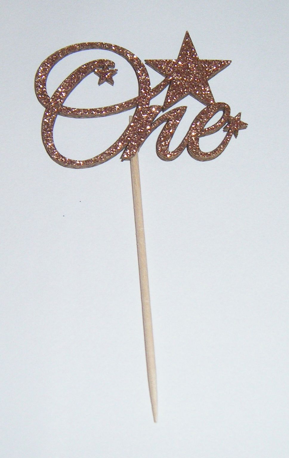 Glitter or Plain Card One with Stars cupcake picks
