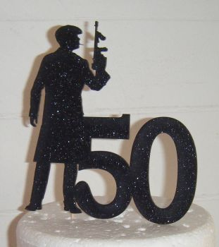 ANY Number 40 or 21, 18, 30, 50, etc with Gangster Cake Topper