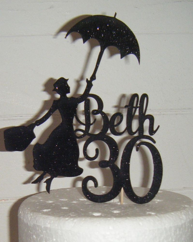 Mary Poppins with Name Number Topper Custom made