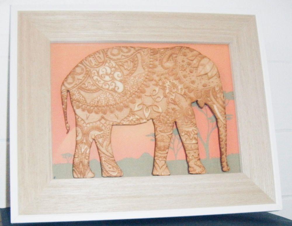 Elephant Frame - Lasercut and Engraved Mandala Design