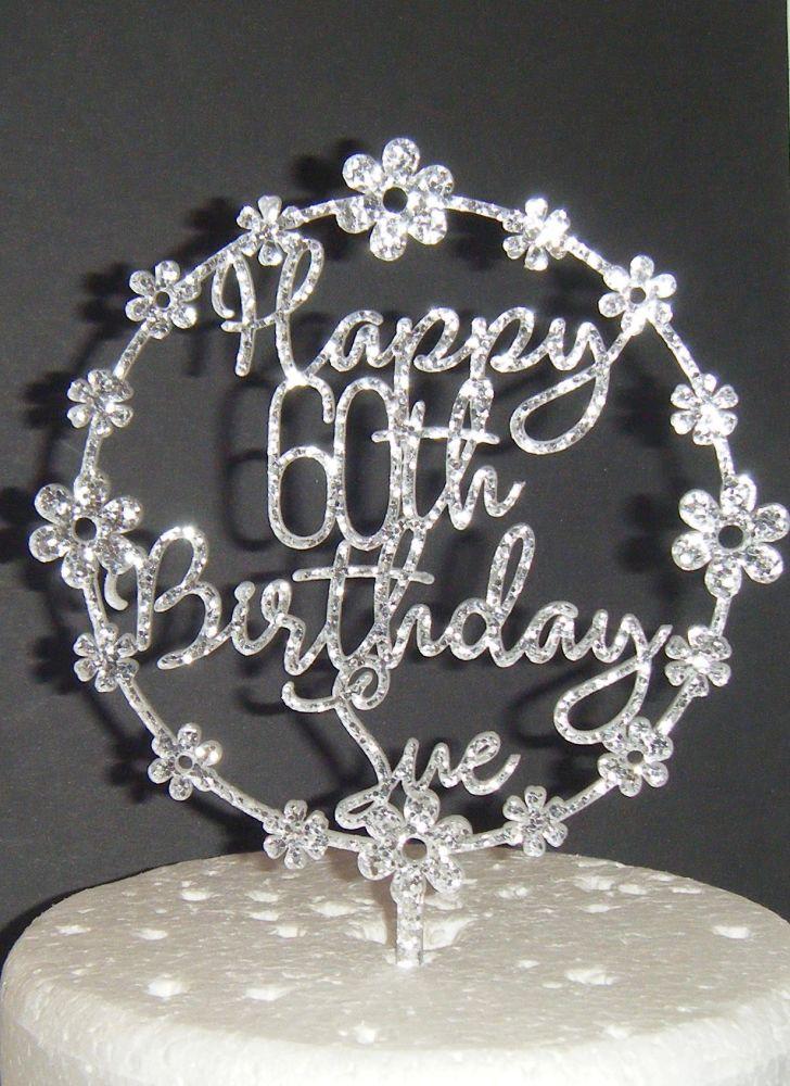 Custom Order - Happy Birthday Cake Topper Flower Circle