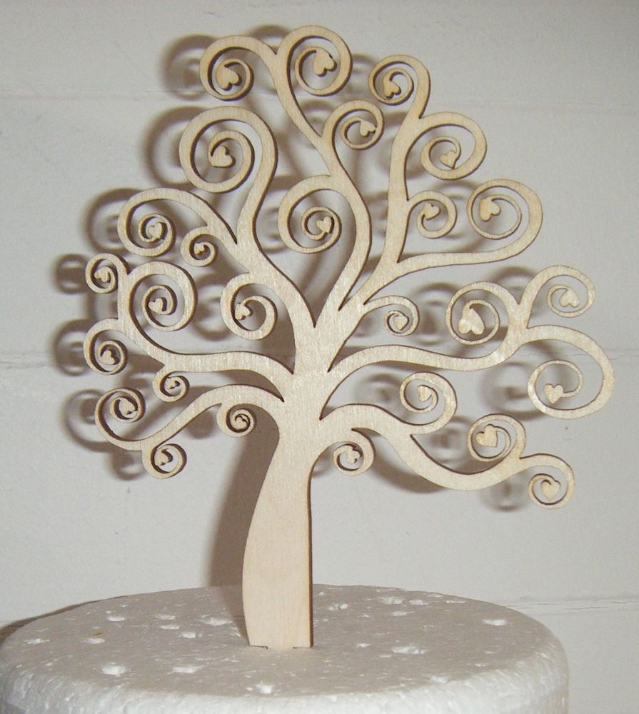 Tree with Hearts Silhouette Cake Topper