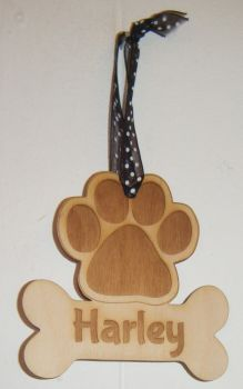 Dog Paw Print with Name On Bone Christmas Tree Bauble Decoration