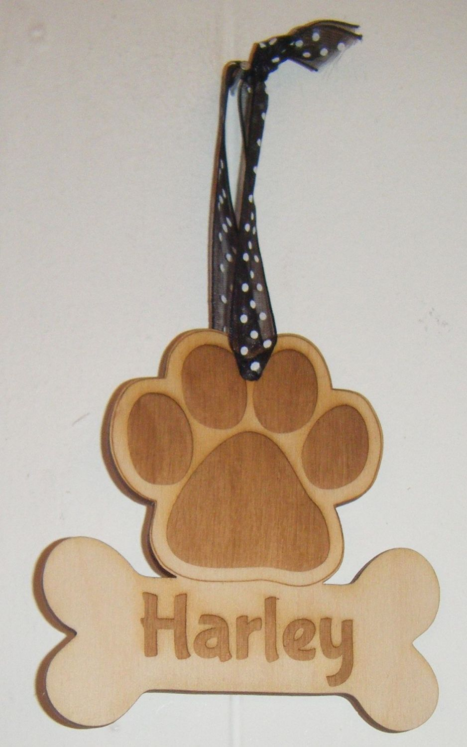 Paw Print with Name On Bone Christmas Tree Bauble Decoration