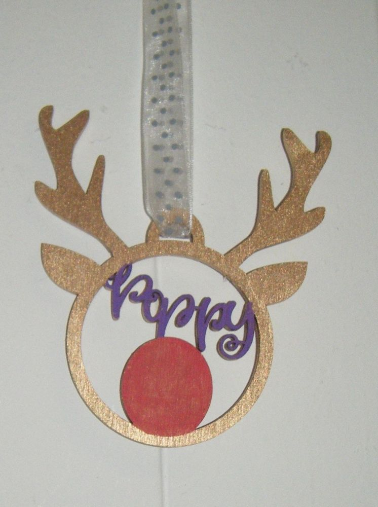 Custom Name Reindeer Rudolph Tree Bauble Decoration