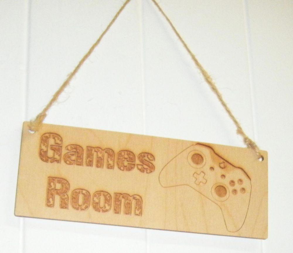 Games Room Wooden Plaque Door Sign