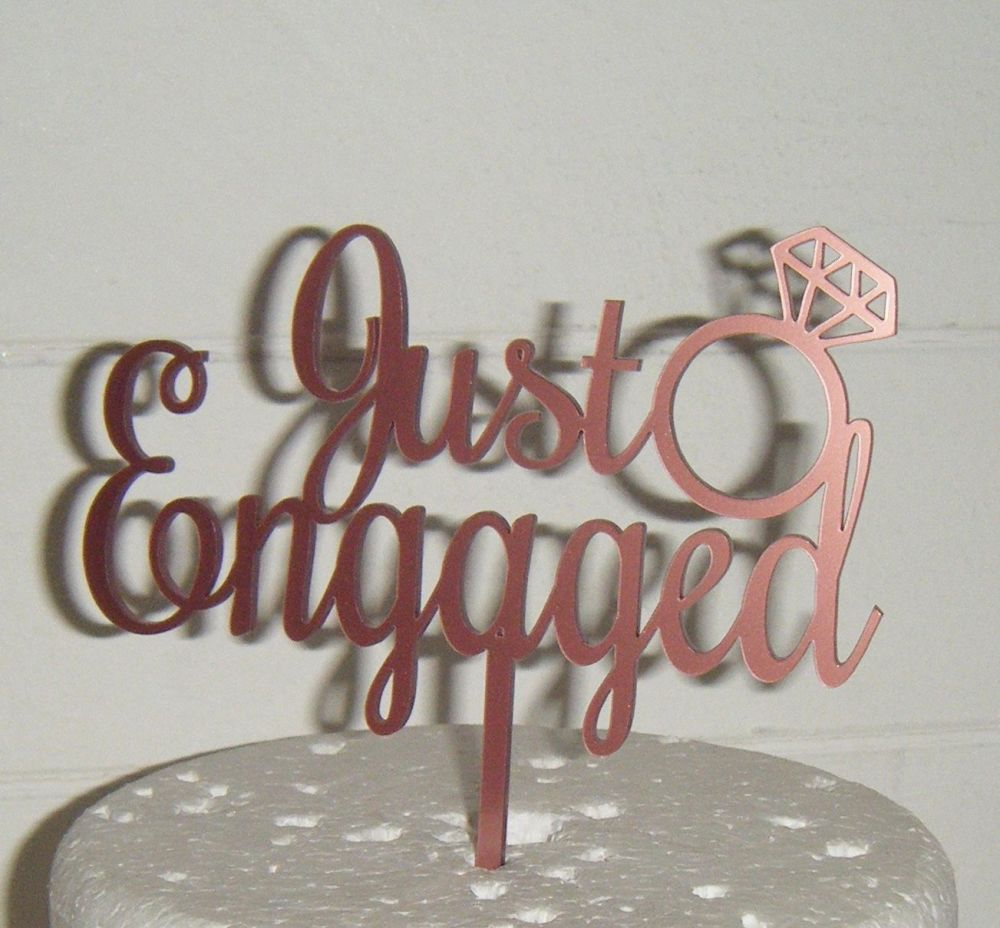 Just Engaged with Ring Cake Topper