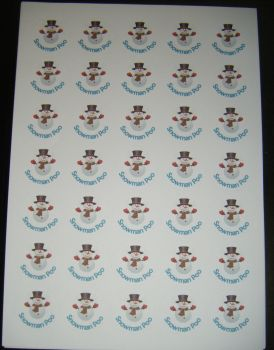 Sheet of Round Snowman Poo Stickers A4