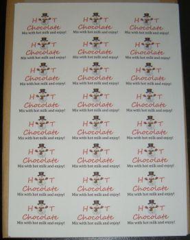Sheet of Snowman Mix with Hot Milk Stickers A4 - 24 per Sheet